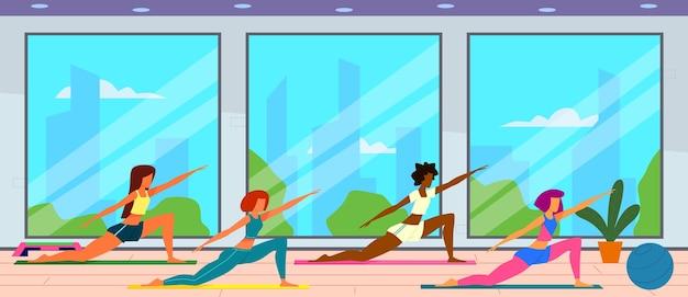 Vrouwen in de sportschool. vrouwelijke groep doet fitness oefeningen, fit meisjes training en een gezonde levensstijl. Premium Vector