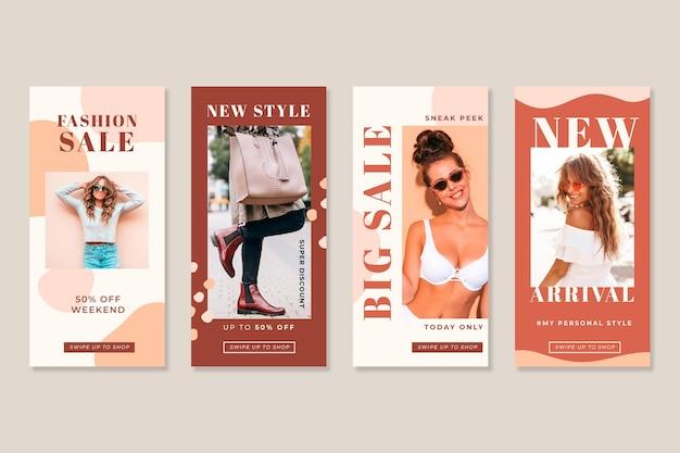 Vrouwen in de zomer organische instagram verkoopverhalen Gratis Vector
