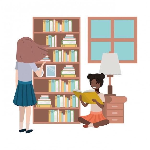 Vrouwen in het avatar-karakter van de bibliotheek Premium Vector