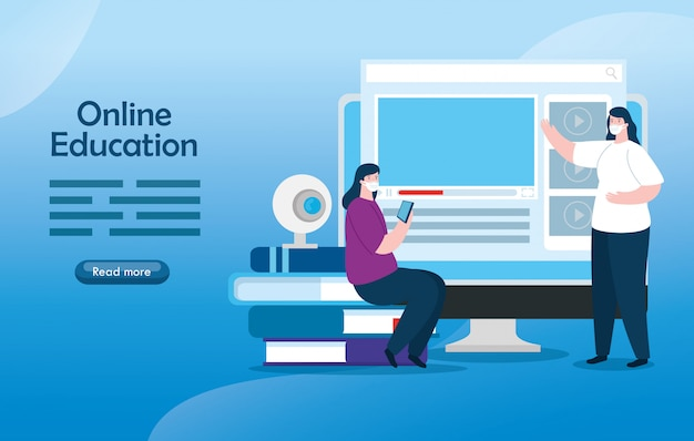 Vrouwen in het onderwijs online met computer illustratie ontwerp Gratis Vector