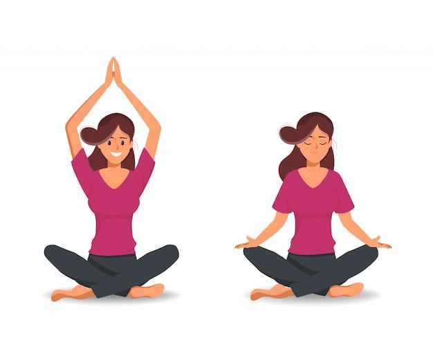 Vrouwen in yogakarakter poseren voor gezond. Premium Vector