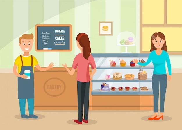 Vrouwen kiezen taarten en kopen koffie bij bakery shop Premium Vector