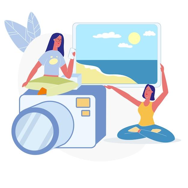 Vrouwen kiezen vakantie foto's vlakke afbeelding Premium Vector