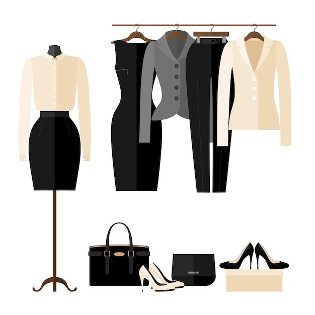 Vrouwen kleding winkel interieur met zakelijke kleding in vlakke stijl geïsoleerd op wit. Premium Vector