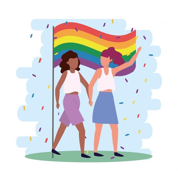 Vrouwen koppelen samen met regenboogvlag Premium Vector