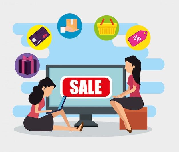 Vrouwen met computer e-commerce technologie te koop Gratis Vector
