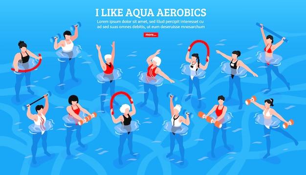 Vrouwen met diverse apparatuur tijdens aqua-aerobicsklasse op blauwe isometrische horizontale illustratie Gratis Vector