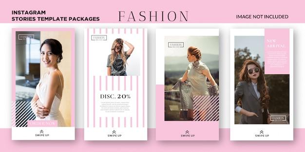 Vrouwen mode-instagram verhalen sjabloonpakketten Premium Vector