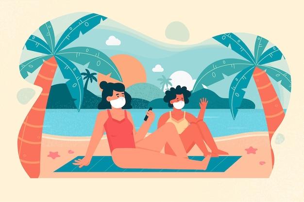 Vrouwen op het strand die medische maskers dragen Gratis Vector
