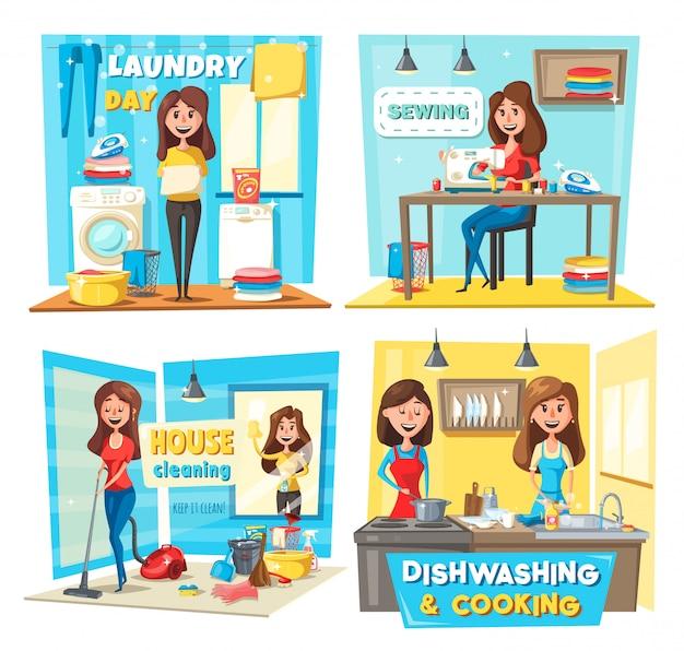 Vrouwen stofzuigen, ramen wassen, de was doen Premium Vector