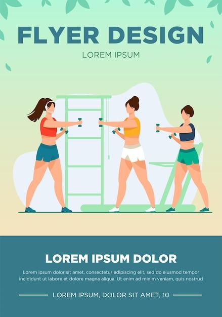 Vrouwen trainen met halters in fitnessclub. gym, spier, arm platte vectorillustratie. sport en een gezonde levensstijl concept Gratis Vector