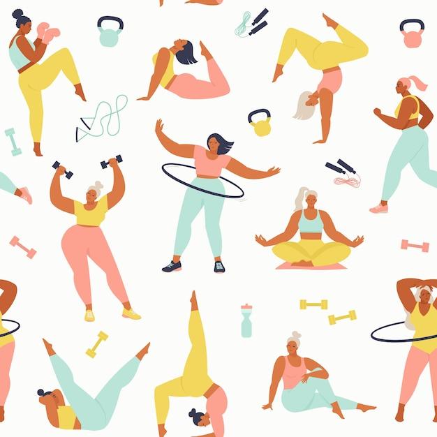 Vrouwen verschillende maten, leeftijden en rassenactiviteiten. Premium Vector