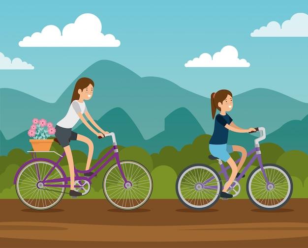 Vrouwen vrienden fietsen Gratis Vector