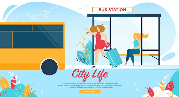 Vrouwen wachten op busstation, openbaar vervoer Premium Vector