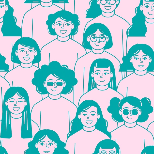Vrouwen worden geconfronteerd met patroon vrouwendag Gratis Vector