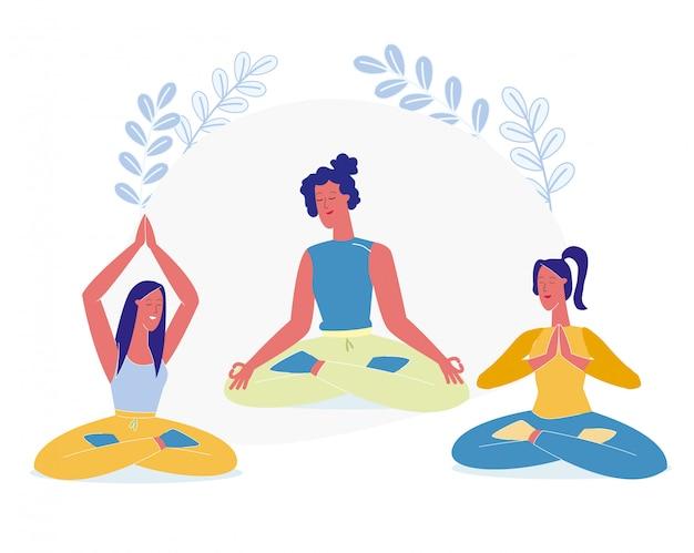 Vrouwen zitten in lotus pose platte vectorillustratie Premium Vector
