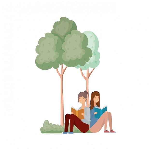 Vrouwen zitten met boek in landschap met bomen en planten Premium Vector