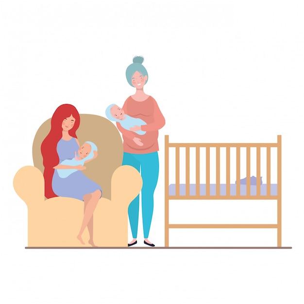 Vrouwen zitten op de bank met een pasgeboren baby in haar armen Premium Vector