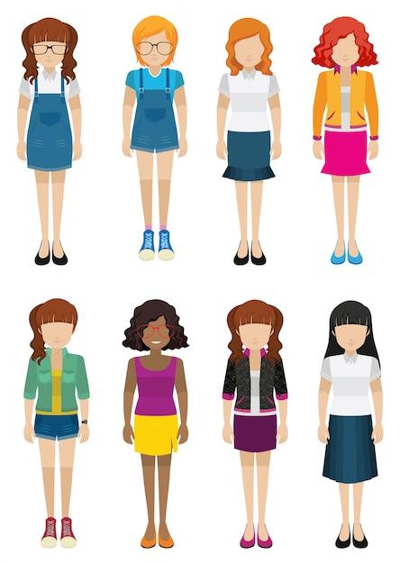 Vrouwen zonder gezichten Gratis Vector