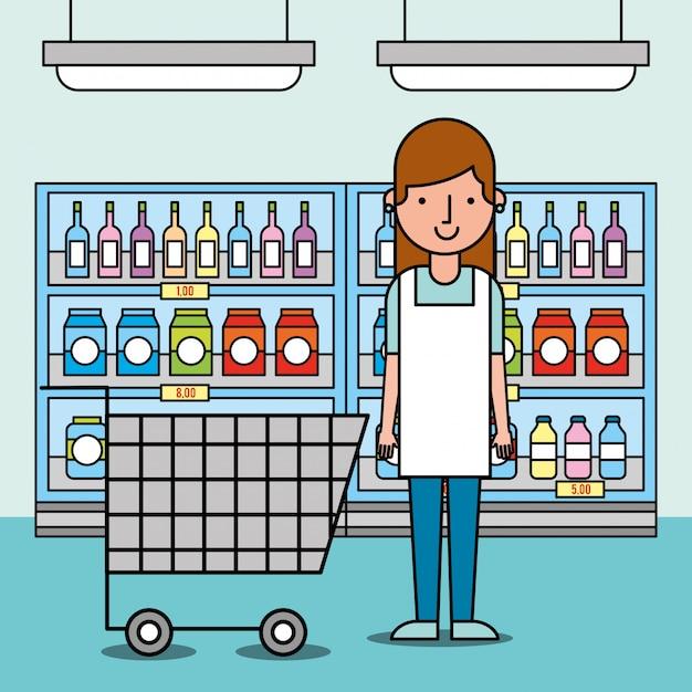 Vrouwenarbeiderssupermarkt met boodschappenwagentje en planken met voedsel Gratis Vector