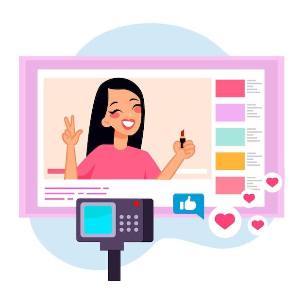 Vrouwenbeïnvloeder die nieuwe video opnemen Gratis Vector