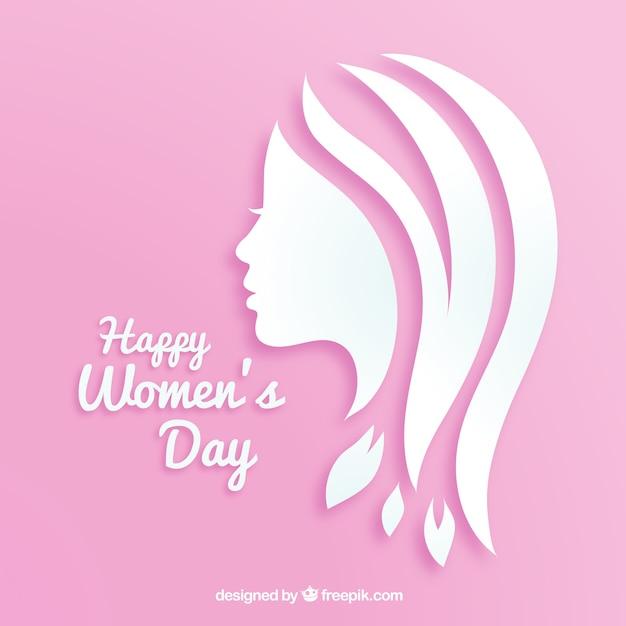 Vrouwendag achtergrond in papier Gratis Vector