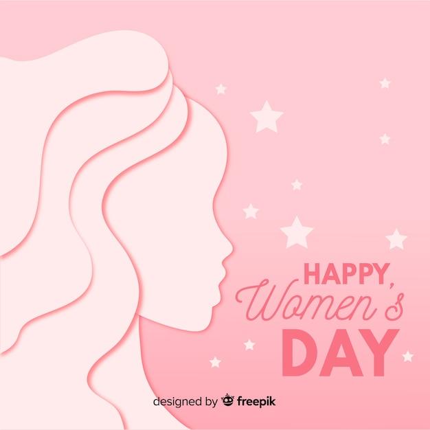 Vrouwendag achtergrond in papieren stijl Gratis Vector