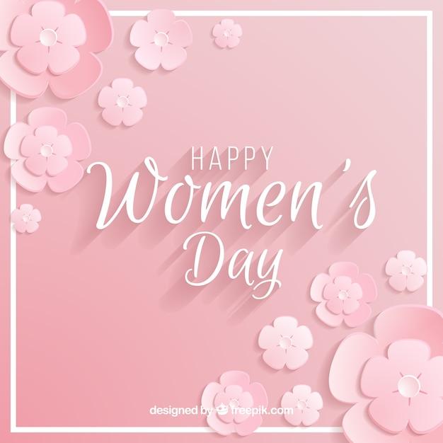 Vrouwendag achtergrond in pastel roze Gratis Vector