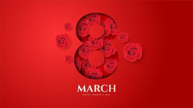 Vrouwendag achtergrond met afbeelding nummer 8 en bloemen takken en bladeren. Premium Vector