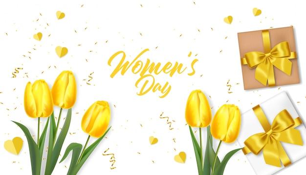 Vrouwendag groet. realistische gele tulpen en giftillustratie Premium Vector
