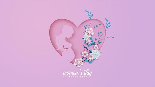 Vrouwendag met illustraties van een zwangere vrouw en kleurrijke bloemen. Premium Vector