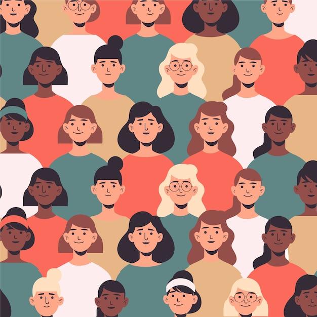 Vrouwendag patroon met vrouwen gezichten Gratis Vector