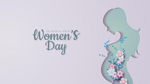 Vrouwendag s van zwangere vrouwenvormen met kleurrijke bloemen. Premium Vector