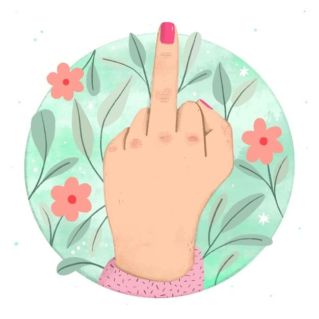 Vrouwenhand die het fuck you-symbool tonen Gratis Vector