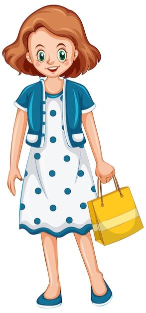 Vrouwenholding het winkelen zak op witte achtergrond Gratis Vector