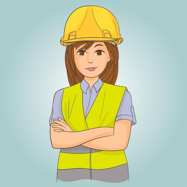 Vrouweningenieur met helm Premium Vector