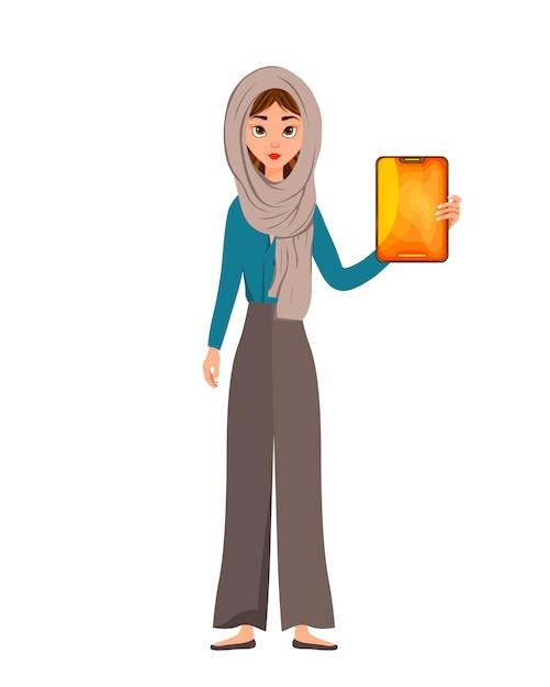 Vrouwenkarakter in een sjaal met tablet Premium Vector