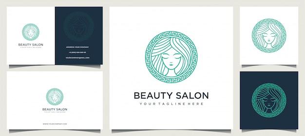 Vrouwenlogo ontwerp met elegant visitekaartje Premium Vector