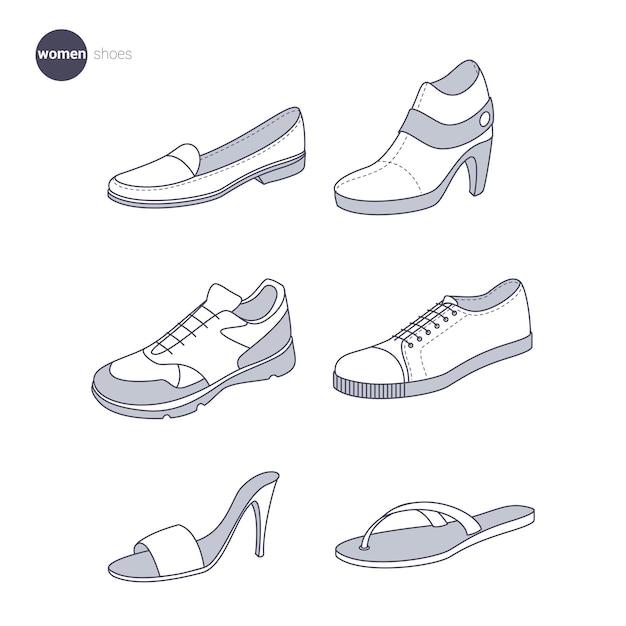 Vrouwenschoenen. kleding dunne lijnstijl. Premium Vector