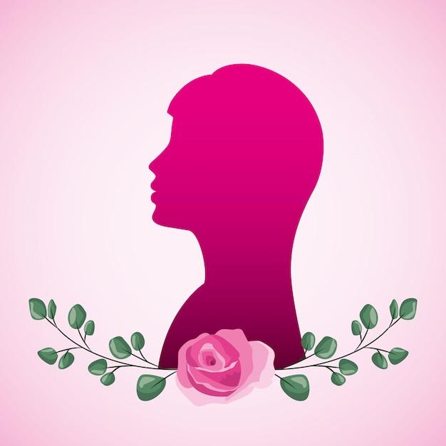 Vrouwensilhouet en bloemen Premium Vector
