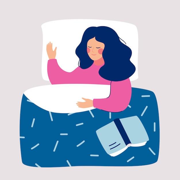 Vrouwenslaap 's nachts in haar bed met open boek Premium Vector