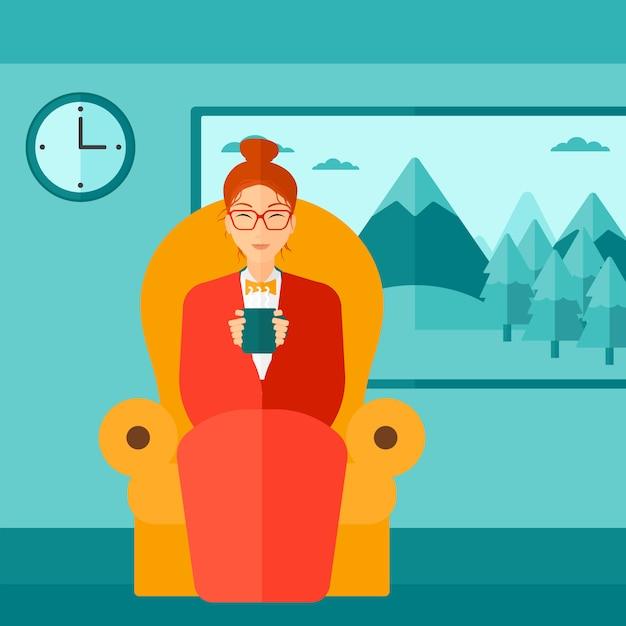 Vrouwenzitting als voorzitter met kop thee Premium Vector