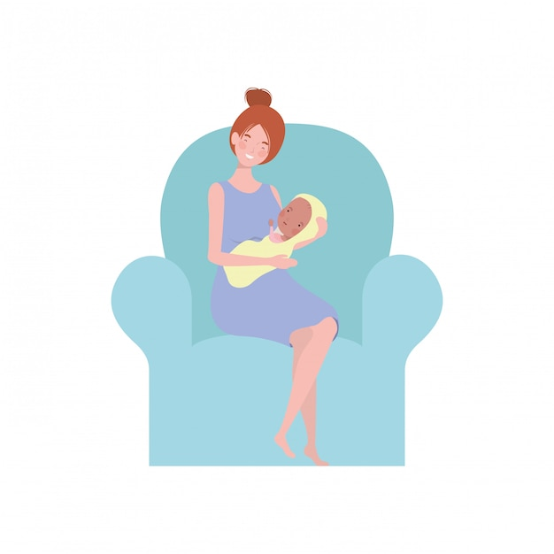 Vrouwenzitting op bank met een pasgeboren baby in haar wapens Premium Vector