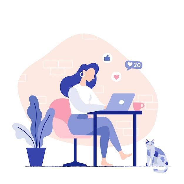 Vrouwenzitting op de stoel die aan laptop werken. thuiswerkplek voor freelancer. platte vectorillustratie Premium Vector