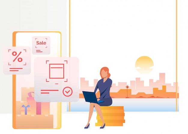 Vrouwenzitting op muntstukkenstapel en het winkelen op laptop Gratis Vector
