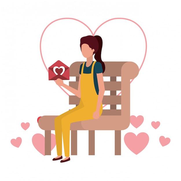 Vrouwenzitting op parkstoel met hartenkarakter Premium Vector