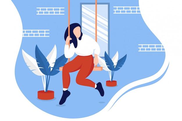 Vrouwenzitting op schommeling in openlucht Premium Vector