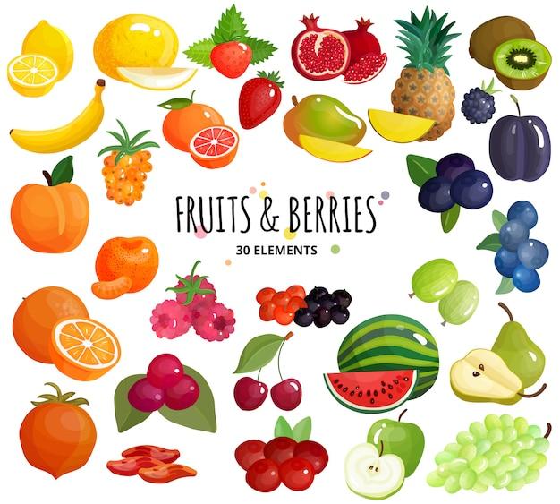Vruchten bessen samenstelling achtergrond poster Gratis Vector