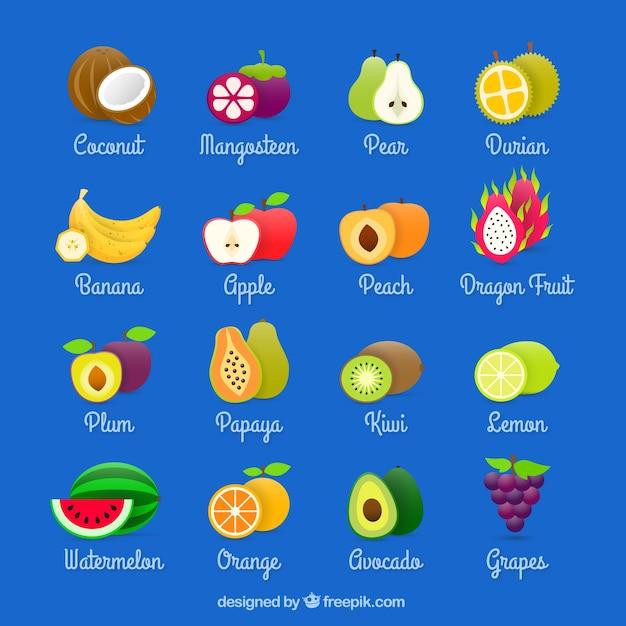 Vruchten collectie Gratis Vector