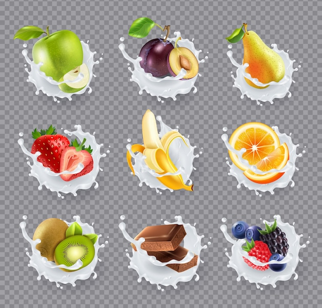 Vruchten melk spatten realistische set Gratis Vector